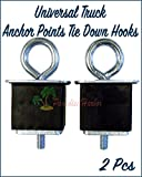 Paradise Harbor 2 Pcs Universal Truck Bed Anchor Points Tie Down Hooks Loops Chrome Plated Metal Universal Anchor Point Metal Truck Anchor & Bolt Set
