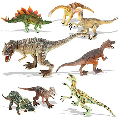 QuadPro Dinosaur Toys Sets for Kids, 8 Piece Jumbo Plastic Dinosaurs Figures Include Saurophaganax, Brachiosaurus, Velociraptor, Triceratops, T Rex and More, STEM Toys for Boys and Girls -