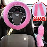 Alusbell 1 Set 5 Pcs Car Steering Wheel Cover & Handbrake Cover & Gear Shift Cover Set & Seat Belt Shoulder Pads Faux Wool Warm Winter (Pink)