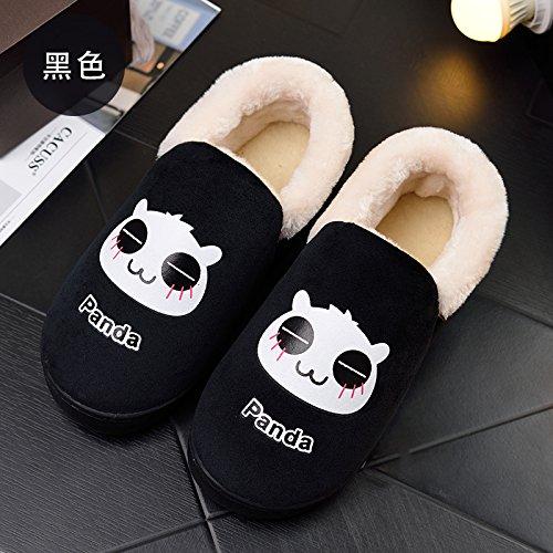 Fankou un paio di inverno home il cotone pantofole indoor cartoon grazioso pavimento in legno pantofole inverno femmina ,40-41, pacchetto nero con
