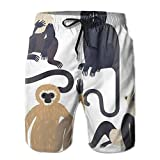 Monkey Animal Zoo Hygroscopic Men Board Shorts Pool Party Swim Short M-XXL