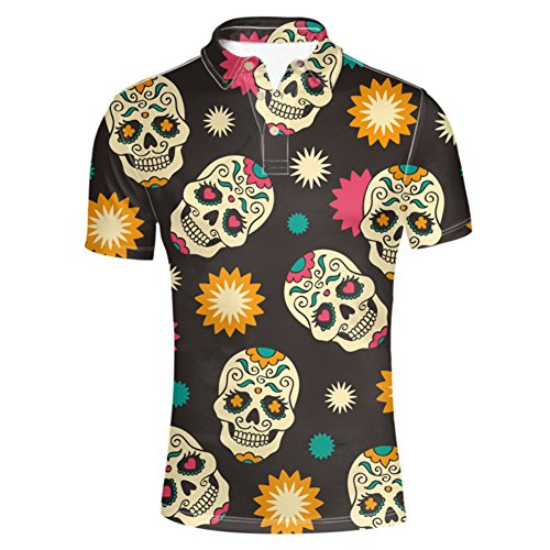 - HUGS IDEA Vintage Men's Polos Shirt Skull Day of The Dead Design T-Shirt Summer Fashion Short Sleeves