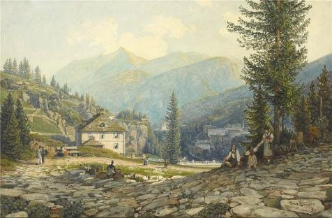 Oil Painting 'View Of The Residence Of Archduke Johann In Gastein Hot Springs, About 1829 - 1832 By Thomas Ender' 18 x 27 inch / 46 x 70 cm , on High Definition HD canvas prints, Dining Room, decor