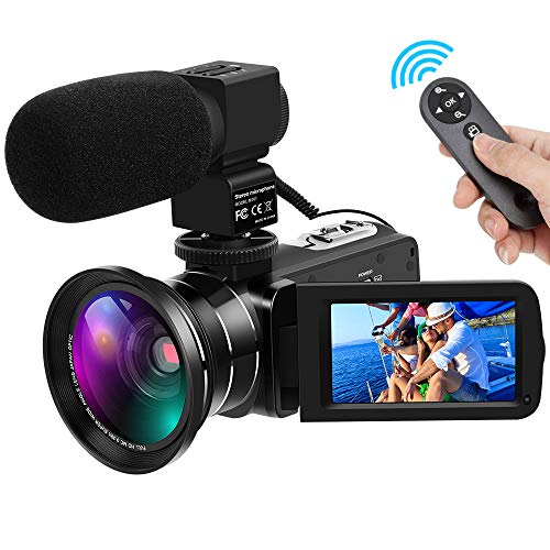 Video Camera Full HD 1080P 30FPS 24MP Digital Camera Camcorders 16X Digital Zoom IR Night Vision Vlogging Camera with External Microphone and Wide Angle -