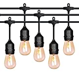 #10: 52ft LED Outdoor String Lights Commercial Grade Weatherproof - 20pack 2W Incandescent Bulbs Included - ETL Listed Heavy Duty - 18 Hanging Sockets - Perfect Patio Lights Bistro Market Cafe Lights