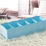 DATEWORK 5 Cells Plastic Organizer Storage Box Tie Bra Socks Drawer Cosmetic Divider Tidy