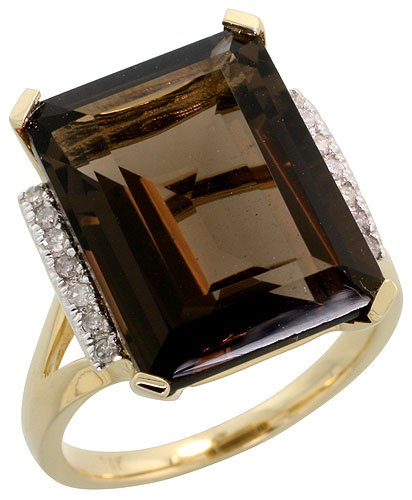 14k Gold Large Stone Ring, w/ 0.10 Carat Brilliant Cut Diamonds & 12.58 Carats 16x12mm Emerald Cut Smoky Topaz Stone, 5/8