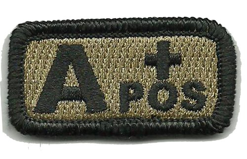 """Tactical Blood Type Patch """"Type A Positive"""" 1""""x2"""" - Coyote T"""