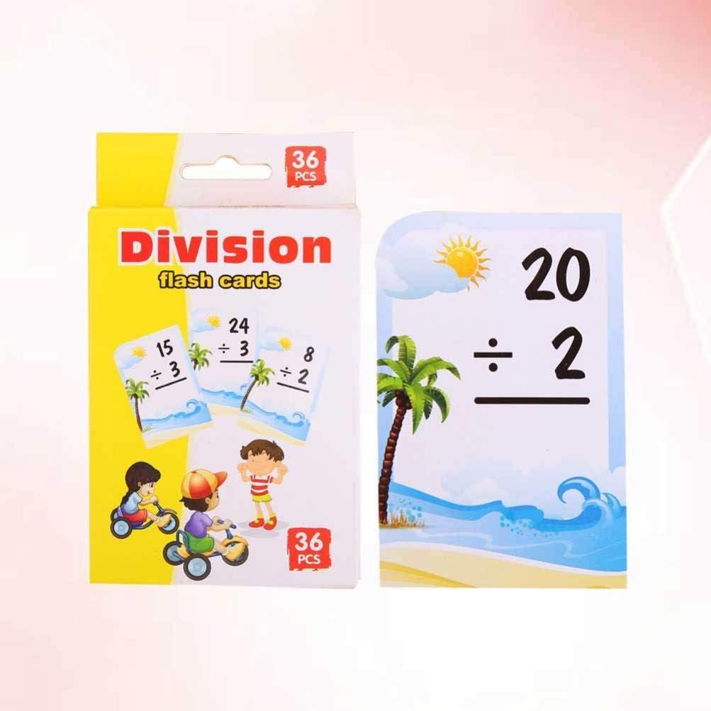 NUOBESTY Flash Card Educativi 2 Pacchetti Divisione Gialla Carte Matematiche Scuola Carte Puzzle Divertenti da Imparare Carte Aritmetiche Giochi di Matematica per Bambini