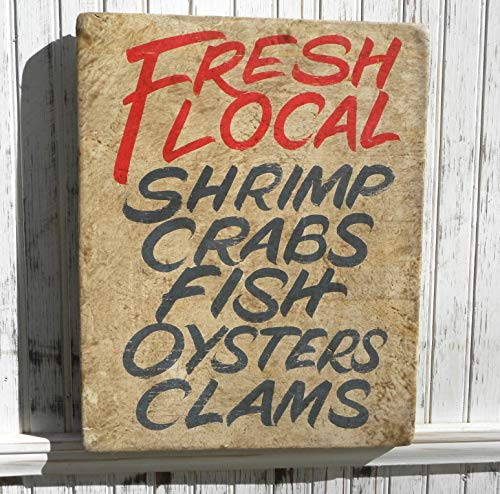 (Fresh Seafood Sign Original Hand Lettered art faux finished background. Shrimp, Crabs, Oysters, Clams. Home Decor)