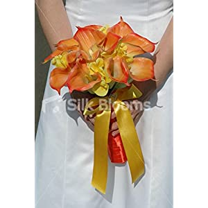 Brides Orange Calla Lily & Yellow Iris Rounded Hand Tied Bouquet 55
