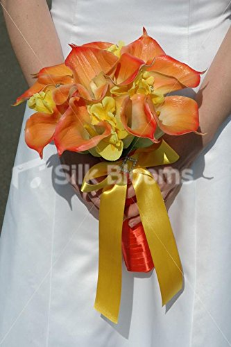 Brides Orange Calla Lily & Yellow Iris Rounded Hand Tied Bouquet