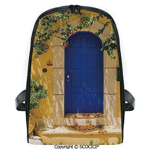 SCOCICI Lightweight Travel Backpack Traditional Greek House Door with Flowers and Tree Mediterranean Scenery Holiday Gift for Girls
