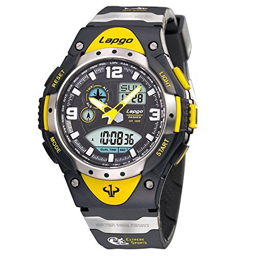 Boys Watches, Analog Digital Dual Time Watch Waterproof Sports Kids Wrist Watches 1018ad Yellow by PASNEW