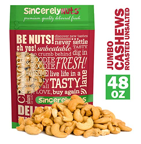 Sincerely Nuts - Large Jumbo Cashews Roasted and Unsalted | Three Lb. Bag | Deluxe Kosher Snack Food | Healthy Source of Protein, Vitamin & Nutritional Mineral Content | Gourmet Quality Cashew Nut