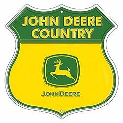 John Deere Highway Embossed Metal Sign
