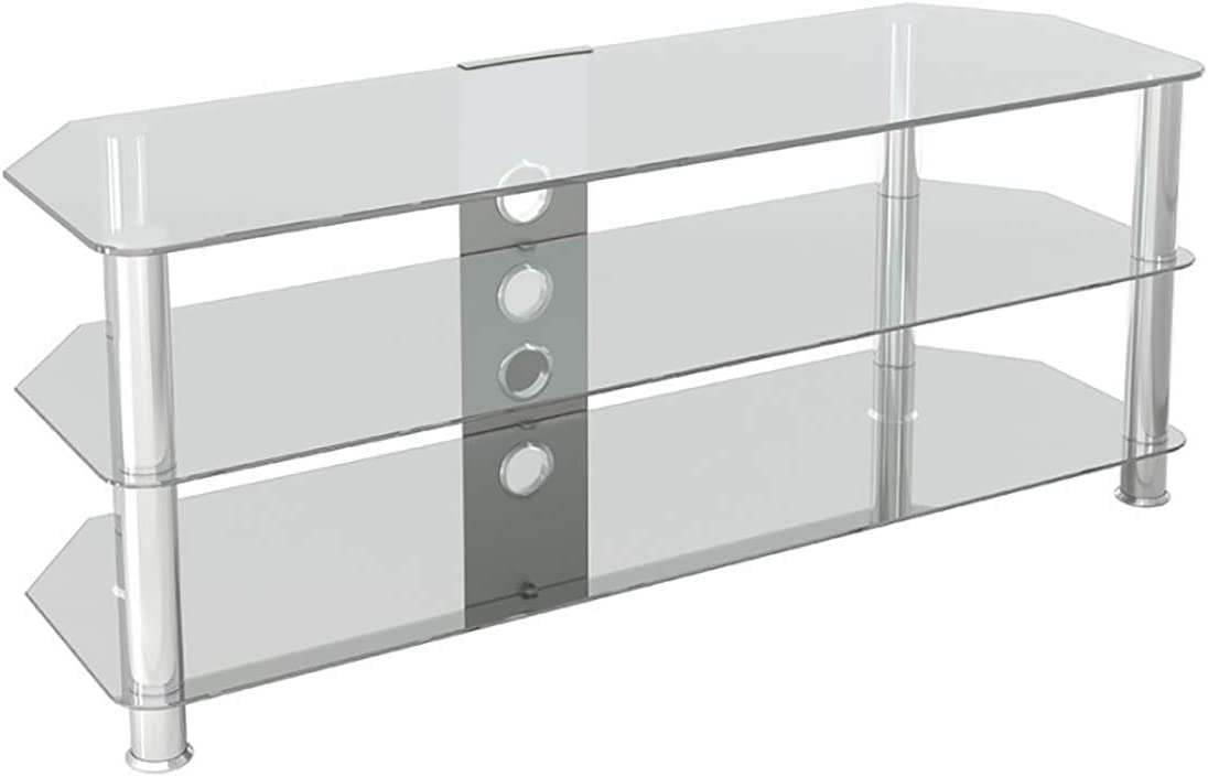 Corner Glass TV Stand AVF SDC1250CMCC-A Classic up to 60 Clear Glass Chrome Legs with Cable Management