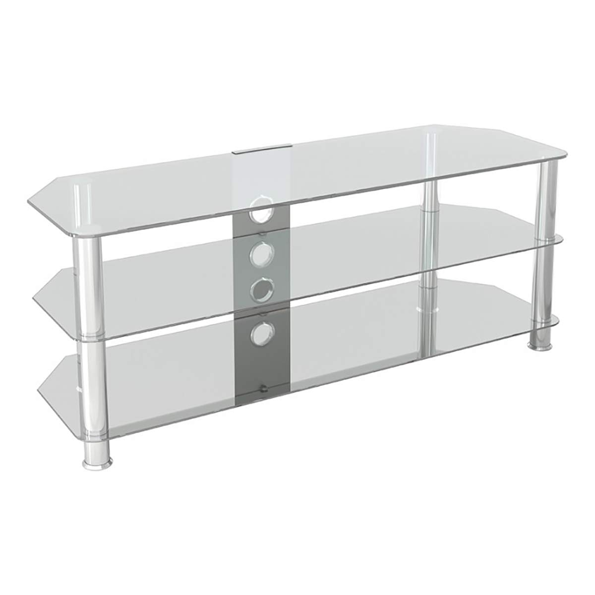 AVF SDC1250CMCC-A Classic – Corner Glass TV Stand up to 60 with Cable Management, Clear Glass, Chrome Legs