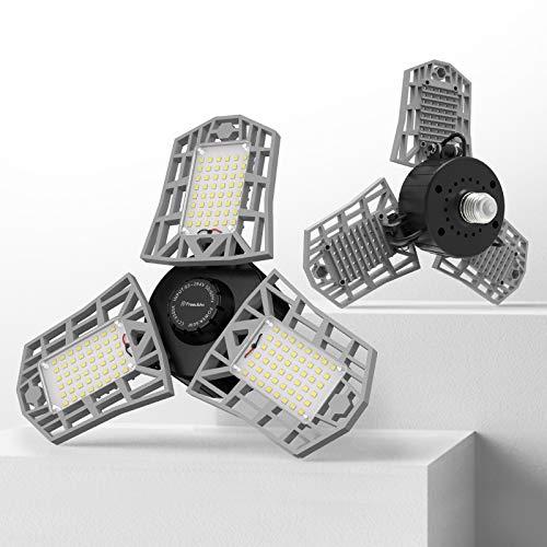 2-Pack LED Garage Light, 60W LED Shop Light with 3 Adjustable Panels, 6000LM Deformable Garage Lights Ceiling LED, 6500K…