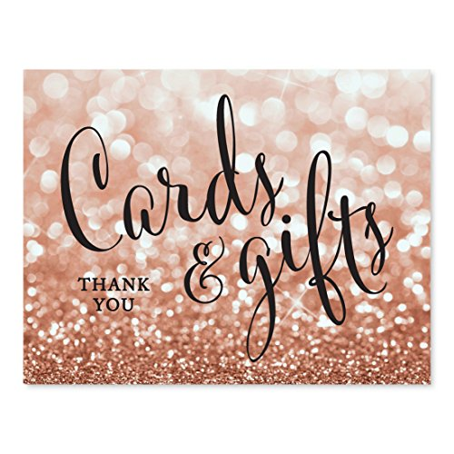 - Andaz Press Wedding Party Signs, Glitzy Rose Gold Glitter, 8.5x11-inch, Cards and Gifts Thank You, 1-Pack, Bokeh Colored Party Supplies