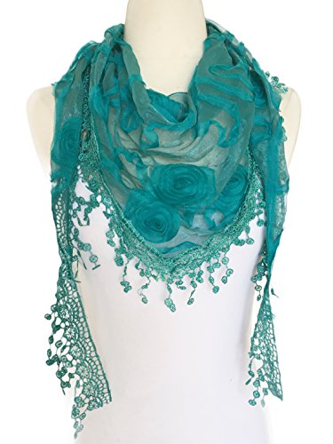 ower Lace Silk Scarf Knit Oblong Cotton Fringe Scarf for Women (Teal Green) ()