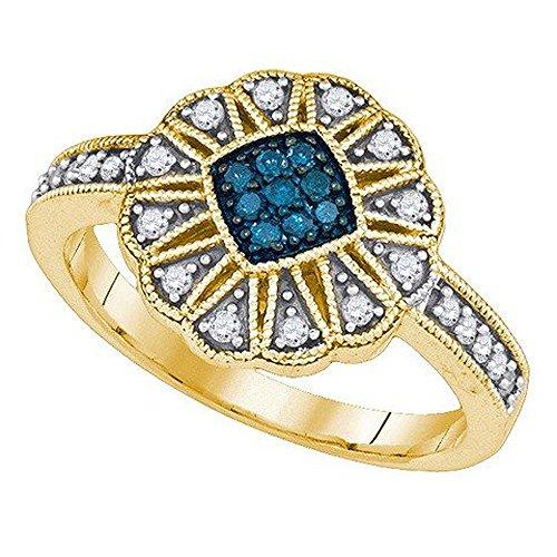 1/4 Ct Round Diamond Flower (0.25 Carat (ctw) 10K Yellow Gold Round Blue & White Diamond ladies Cluster Flower Right Hand Ring 1/4)