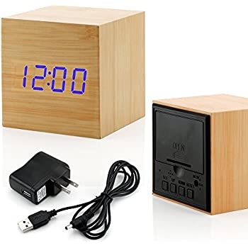 GEARONIC TM Wooden Alarm Clock, LED Square Cube Digital Alarm Thermometer Timer Calendar Updated 2016 Brighter LED - Bamboo