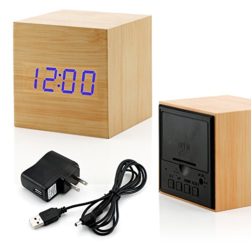 GEARONIC TM Wooden Alarm Clock, LED Square Cube Digital Alarm Thermometer Timer Calendar Updated 2018 Brighter LED - Bamboo - Square Desk Clock