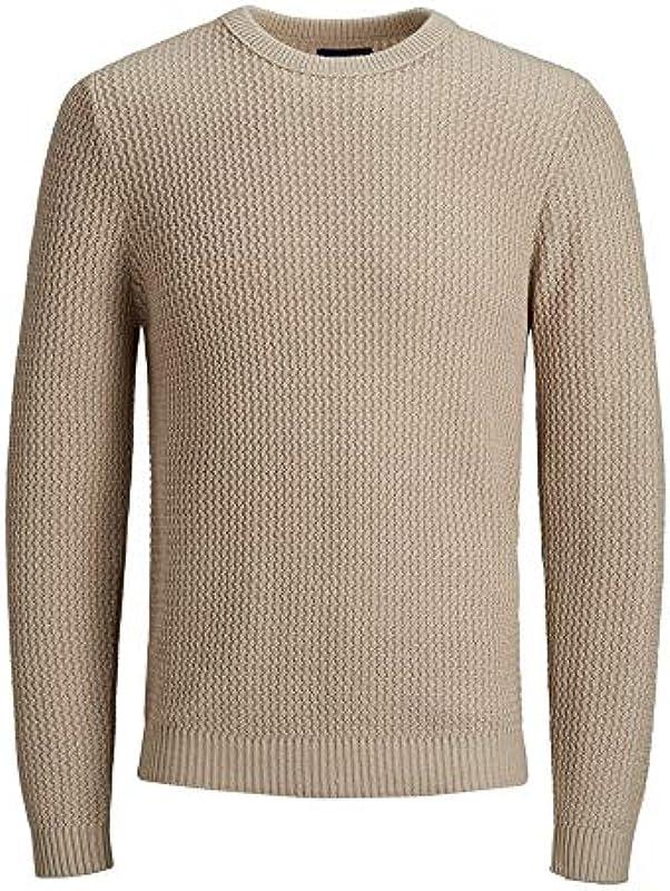 Jack&Jones sweter męski z długim rękawem beżowy 12168065 JORFLOW Knit Crew Neck ZA Feather Gray: Odzież