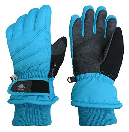 NIce Caps Kids Bulky Thinsulate Waterproof Winter Snow Ski Glove with Ridges (Turq, 10-12 Years)