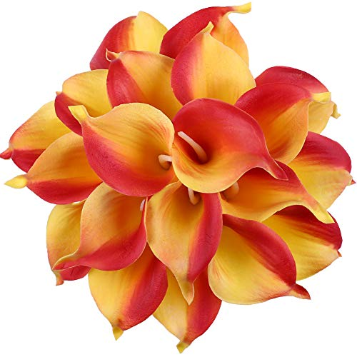 Leagel Calla Lily Bridal Wedding Bouquet Head Lataex Real Touch Flower Bouquets (20, Yellow Red) (Red And Yellow Wedding)