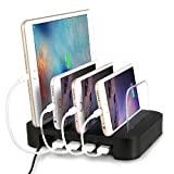 Electronics : Charging Station, Villain Multi USB Charger For Multiple Devices - 4 Built-in USB Ports - Fast & Safe Phone Charging Hub, Smart IC - Charging Dock Organizer for Apple, Samsung, Windows, And More..