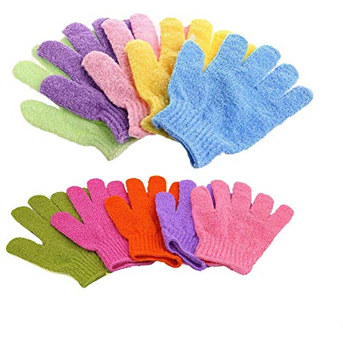 Bath Gloves, Exfoliating Gloves Spa Gloves Shower Glove Facial Gloves Bath Body Scrub Shower Gloves Body Spa, 5 Pair(5 Color)
