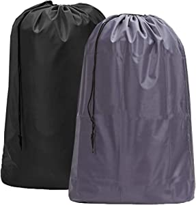 HOMEST 2 Pack Large Nylon Laundry Bag, Machine Washable Large Dirty Clothes Organizer, Easy Fit a Laundry Hamper or Basket, Can Carry Up to 4 Loads of Laundry, Black and Grey