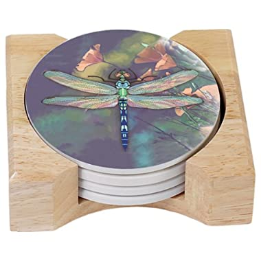 CounterArt Dragonfly Design Round Absorbent Coasters in Wooden Holder, Set of 4