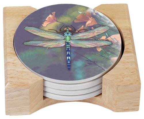 CounterArt Dragonfly Design Round Absorbent Coasters in Wooden Holder, Set of 4 ()