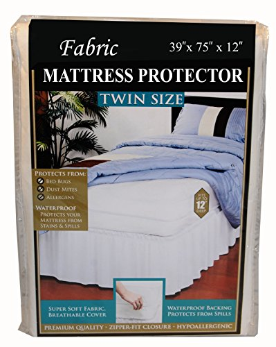 Mattress Cover Fabric Twin Zippered, Bed Bug Proof Box Spring Encasement, Vinyl Safe and Hypoallergenic Protection, Waterproof Mattress Protector