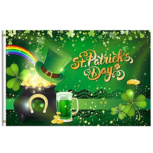 Gold Double Horseshoe - Wamika St Patrick's Day Shamrock Clover Lucky Rainbow Flag 3x5 Feet with Brass Grommet Wind Side Double Stitch Green Hat Gold Pot Coin Horseshoe Beers Banner Flag Breeze Decorations for Outdoor Home