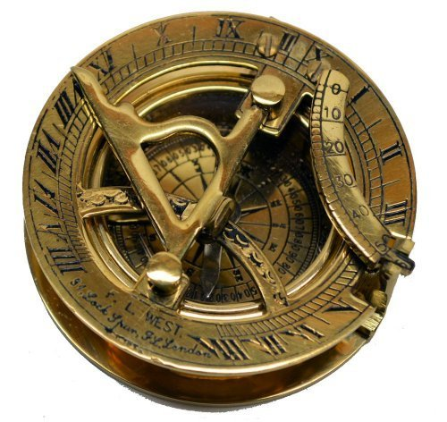 Solid Brass 3 Inch Sundial Compass - Reproduction Classic Nautical