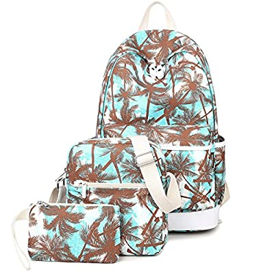Turquoise School Backpack Purse Set Canvas Laptop Bag Shoulder Bag for Teen Girls and Women