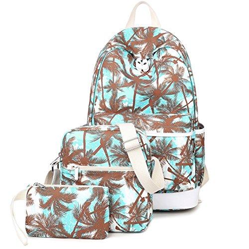 Turquoise School Backpack Purse Set Canvas Laptop Bag Shoulder Bag for Teen Girls and Women