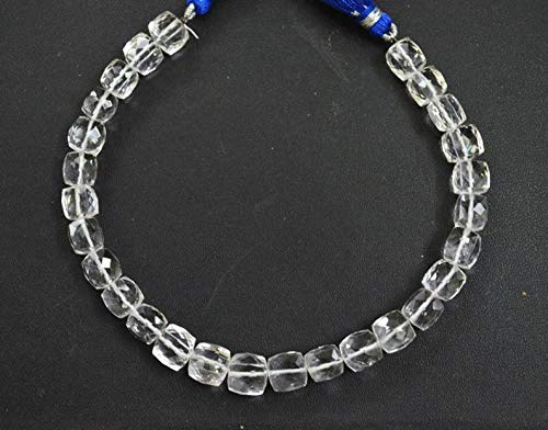 Gems-World Jewelry 1 Strand Natural Rock Crystal Faceted Cubes Briolette, 8