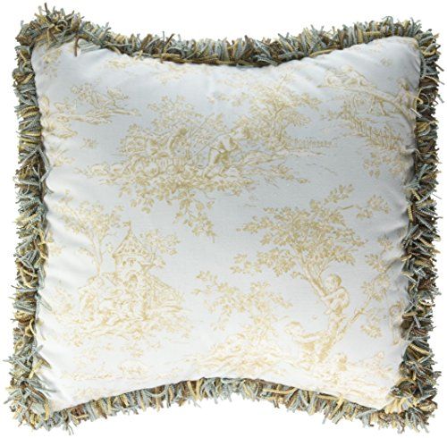 (Glenna Jean Central Park Pillow Toile with Fringe, Blue/Chocolate/Tan/White )