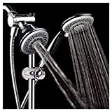 HotelSpa Instant-Mount Drill-Free Height/Angle Adjustable 30-Setting SpiralFlo 3-Way Shower Head / Handheld Showerhead Slide Bar Combo