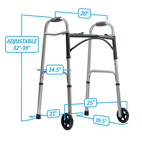 10210-1 - Deluxe Two Button Folding Walker with 5 Wheels