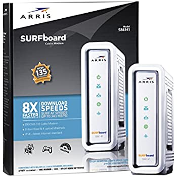 ARRIS SURFboard SB6141 DOCSIS 3.0 Cable Modem - Retail Packaging- White