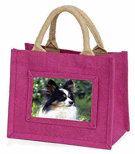 Advanta–Mini Pink Jute Tasche Papillon Hund Little Girls kleinen Einkaufstasche Weihnachten Geschenk, Jute, pink, 25,5x 21x 2cm