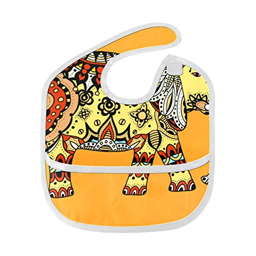 African Ethnice Tattoo Elephant Custom Soft Waterproof Washable Stain And Odor Resistant Baby Feeding Dribble Drool Bibs Burp Cloths For Infant Overall For 6-24 Months Kids Gifts