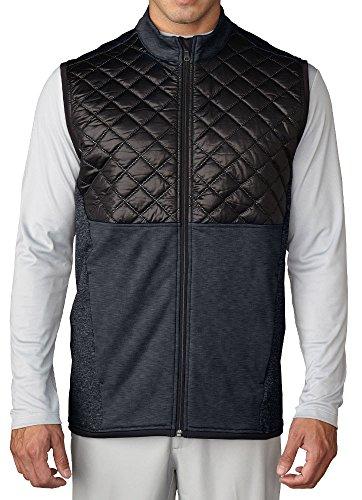 adidas Golf Men's CLIMAHEAT? Prime Quilted Full Zip Vest Dark Grey Heather/Black Outerwear LG