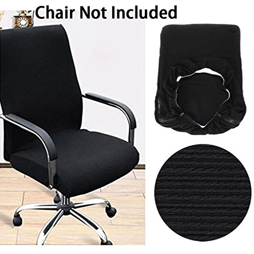 BTSKY Office Computer Chair Covers Stretchy -Polyester Desk Chair/Rotating Chair Cover, Medium Size (Black) by BTSKY